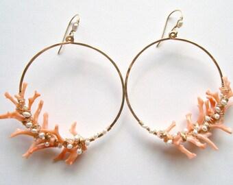 Coral Branch Earrings, Peach Coral Hoops, Pearl Coral Earrings, Hammered Gold Hoops