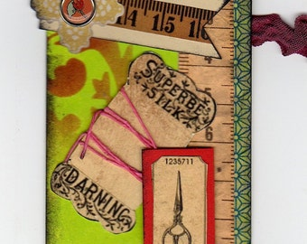 Tag Art, Altered Tailor's Tag, Sewing Tag, Sewing Notions Tag, Measuring Tape Tag
