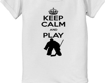 KEEP CALM and Play Hockey Goalie Bodysuit baby infantFuture NHL player pro ice hockey player sports t-shirt baby bodysuit, baby shower gift
