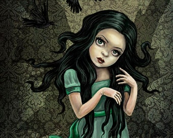 "Shadow Wings - Gothic Fairy Art - 8.5"" x 11"" Fantasy Print"