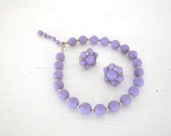 Vintage Purple Choker Necklace Cluster Earrings Set Plastic Bead Demi Parure Gold Tone Screw Back Costume Jewelry GallivantsVintage
