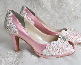 """Wedding Shoes - Wedding Accessories- Womens Shoes, Wedding Heels Wedding Shoes Bridal Shoes Wedding Lace Peep Toe 2 3/4"""" Heels, Bridal Shoes"""