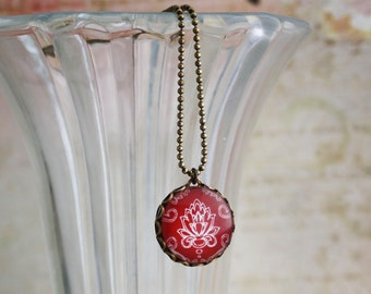 Double Sided Necklace Damask - Brass and Glass