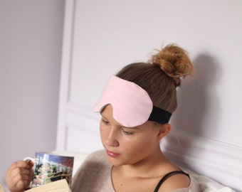 Pale Pink Cotton Knit Sleeping Mask with Heather Grey Lining