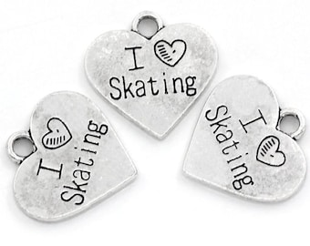 4 Love Skating Charms Antique  Silver Tone 2 Sided Hearts - SC1055