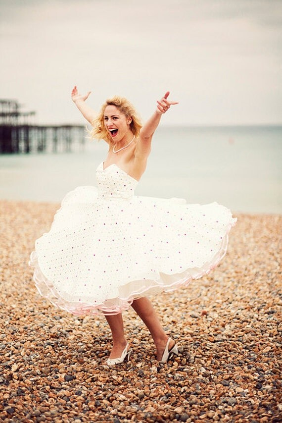Lizzie - 1950's style dress with muli coloured spot organza and duchess satin