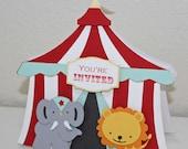 Circus Birthday invitations - circus tent, elephant, lion, Circus birthday, set of 12