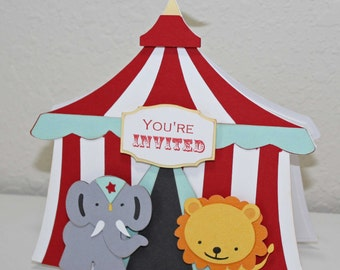 Circus Birthday invitations - circus tent, elephant, lion, Circus birthday, set of 12