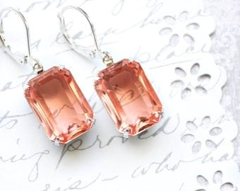 Peach Glass Earrings Copper Drop Silver Rhinestone Earrings Nickel Free Leverback Old Hollywood Pink Peach Jewel Bridesmaid Gift Lightweight