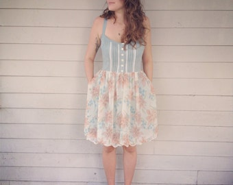 floral pin tucked button down sundress with lace detail pockets and petticoat- custom to your measurements