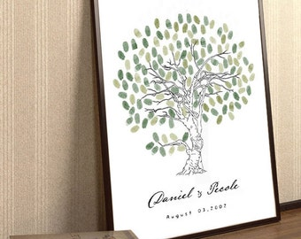 Loving Tree . Hand Drawn Fingerprint Tree Print.Wedding Guest Book Tree.To Be Personalized With Guest's Fingerprints .17x22  With 1 ink pads