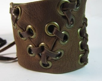Warrior Cuff Brown Leather Bracelet, Leather Corset Lace Up Tied Wrist Band Wristband Distressed