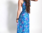 Vintage 1970s Blue Purple Hawaiian flower empire line maxi dress