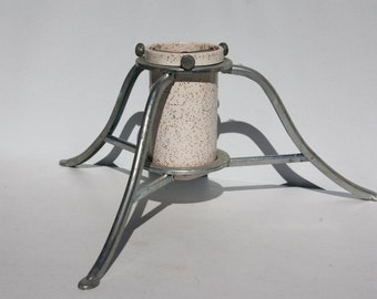 Vintage Christmas Tree Stand Holder Metal White Silver Glitter