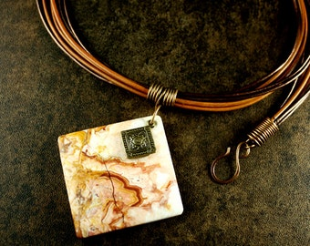 Leather and Crazy Lace Agate Necklace Rustic Browns and Reds
