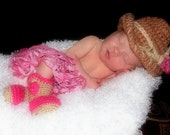Baby Cowgirl Hat , Ruffle Skirt and Boots Set - Baby Hat - Cowboy Baby Set - Baby Booties - Western Set  Photo Prop - by JoJo's Bootique