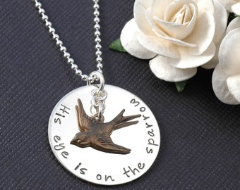 His Eye Is On The Sparrow hand stamped necklace