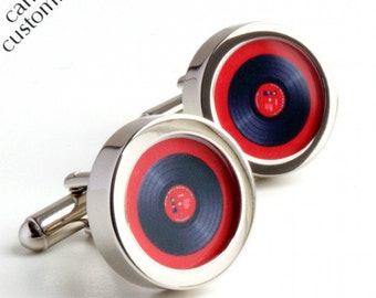 Vinyl DJ Cufflinks in Red, Spin the Record Right Round Baby PC096