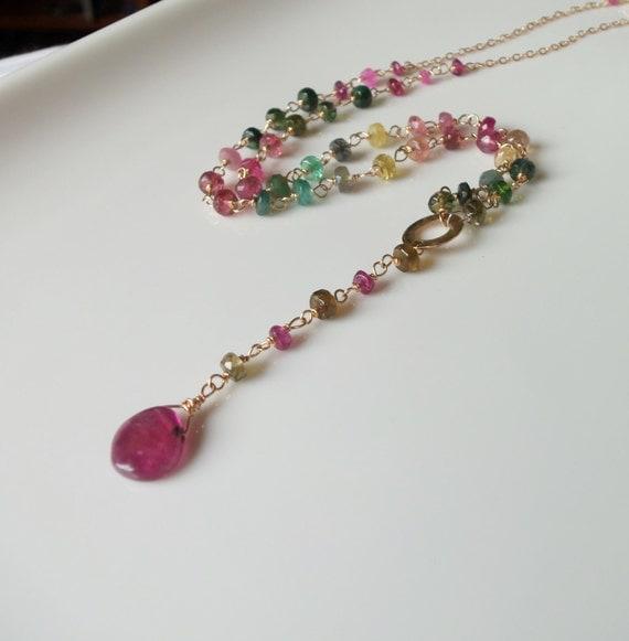 watermelon tourmaline gemstone wire wrapped necklace by