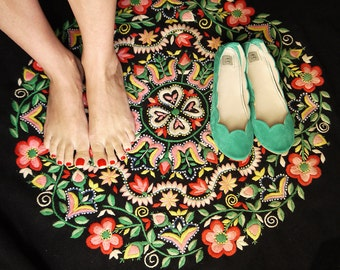 Ballet Flats Shoes in Aqua Green Soft Suede Scalloped Slip on Ballerinas