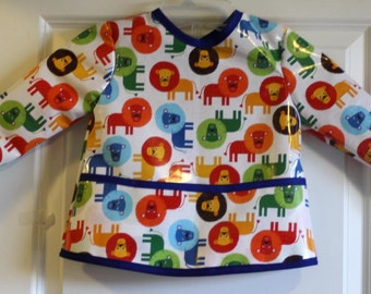Toddler Baby Long Sleeved Art Smock Painting Smock with Lions