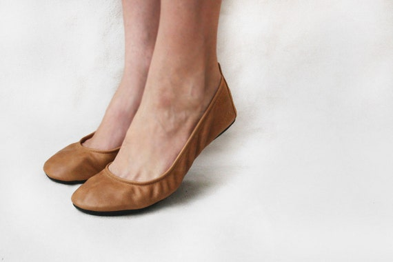 Ballet flats - Wheat - Handmade Leather shoes -  CUSTOM FIT