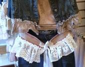 Burlap and Lace Belt Gypsy Shabby Rustic Magnolia Lagenlook Mori Pearl