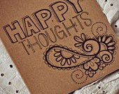 Hand Drawn, Oringinal 8 x 10 lined notebook, HAPPY THOUGHTS