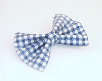 Blue Gingham Hair Bow Vintage Inspired Hair Clip Rockabilly Dorthy Costume Halloween Pin up Teen Woman