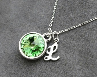 Initial Birthstone Necklace, August Birthstone Jewelry, Peridot Custom Letter Jewelry, Push Present, Personalized New Mom Necklace