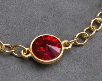 Gold Garnet Bracelet, January Birthstone Jewelry, Gold Chain, January Birthday Gift, Swarovski Crystal, Garnet Red Bracelet