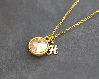 Custom Initial Birthstone Necklace, November Citrine Jewelry, Push Present, New Baby Gift, Gold Citrine Necklace
