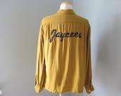 1960s Vintage Mens Jaycees Bowling Shirt Medium, Mens Vintage, Mustard Colored, Rockabilly, Mid Century
