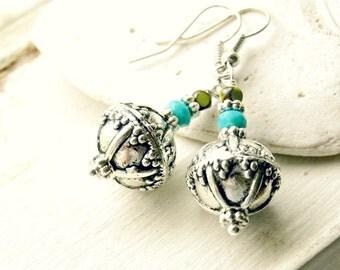 bohemian belle silver leverback beaded drop earrings