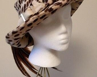 1960s Vintage Designer Leopard Print Plush Hat With Plumes