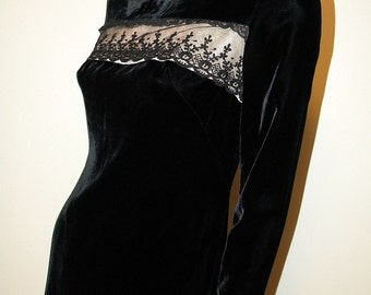 Gay Gibson 60s Vintage Velvet And Lace Dress