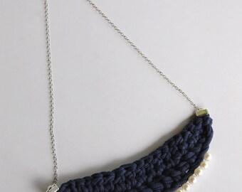 Crochet Bib Necklace - Navy and Pearls - Tshirt Yarn - Eco Friendly
