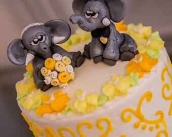Elephant Wedding Cake Topper Elephant Bride and Groom Just Married Elephants Elephant Bridal Shower Personalized Custom Handmade Keepsake
