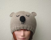 Koala bear animal hat beanie. Wool / silk / mohair novelty winter hat for teen or small adult - HotScones