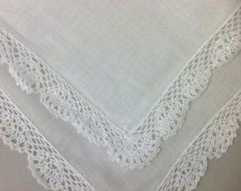 White Crocheted Edge Hanky, Sweetheart  hanky,  Special  gift