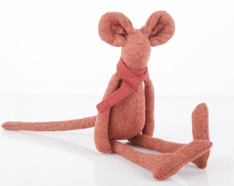 Autumn Plush woollen minimalist Rusty red mouse doll , wearing burgundy striped scarf  - eco timo handmade fabric doll