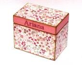 Wood Treasure Box Keepsake Box Recipe Box - Pink & Burgundy Flowers - Personalized