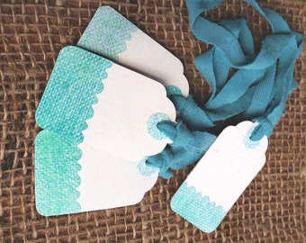 "10 White & Teal, Aquamarine Paper Gift Tags 2 1/16"" x 1 1/4"" 65lb Repurposed Cardstock Paper With Repurposed Fabric Ties"