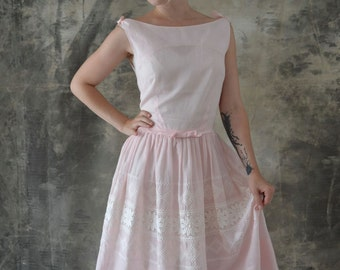 1950s Pale Pink Dress Eyelet Lace