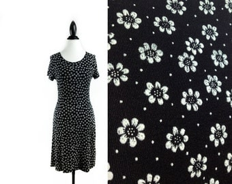 90's Daisy Black and White Floral Slinky Mini Dress // S - L