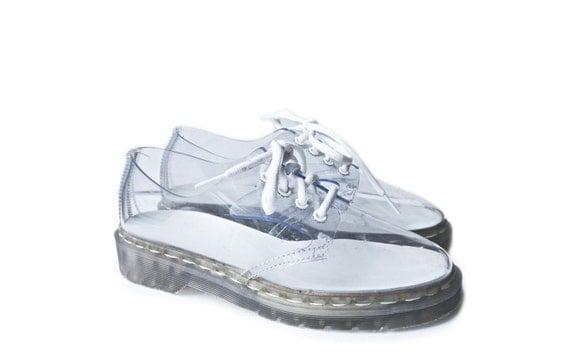 90 S Clear Dr Martens Oxfords Vinyl Lace Up Shoes 8