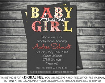 Girls Baby Shower Invitation - Modern, Yellow, Gray, Coral, Chevron, Polka Dots, Printable, Digital