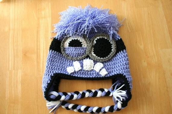 Minion hat, Purple minion hat, costume hat, purple black gray white, Halloween costume, 5T to Preteen size, photo prop