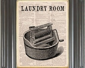 Laundry room sign print on dictionary or music page COUPON SALE Dictionary art print Wall decor Sheet music page Digital art print  No. 448