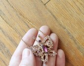 Vintage 70's/80's Crystal Rhinestone Butterfly Necklace